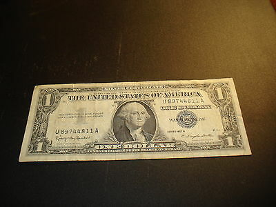 1957 B - USA one dollar bill - $1 Silver Certificate American note - U89744811A