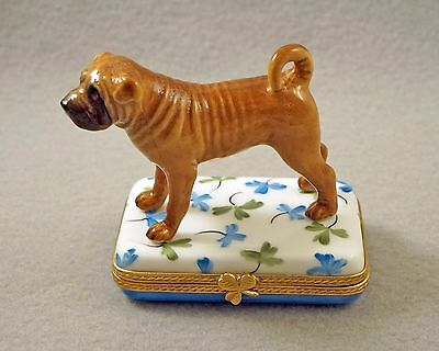 NEW HAND PAINTED FRENCH LIMOGES TRINKET BOX SHAR PEI DOG Puppy ON CLOVER LEAVES
