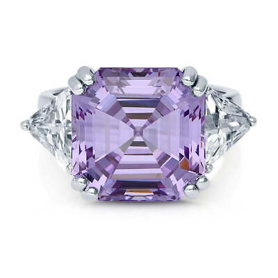 9119afcb9 BERRICLE Sterling Silver Asscher Purple Cubic Zirconia CZ 3-Stone Cocktail  Ring