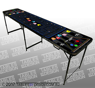 'Pac-Man' themed Beer Pong Table (2.4m L x 0.6m W x 0.76m H) + 6 balls