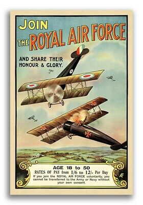 Join the Royal Air Force RAF 1918 Vintage Style WWI BiPlane Poster - 20x30