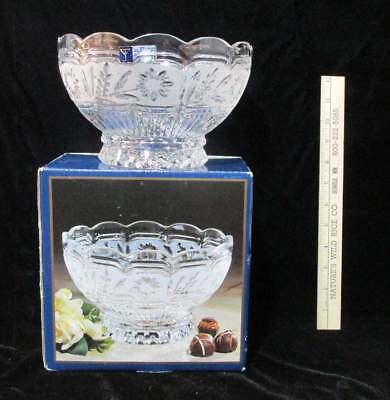 """Crystal Bowl Frosted Floral Flower Ruffled Edge Stylesetter Riviera 8"""" Glass"""