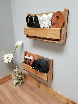 Space Saver Reclaimed Wood Wall Mounted Shoe Rack Ideal Storage