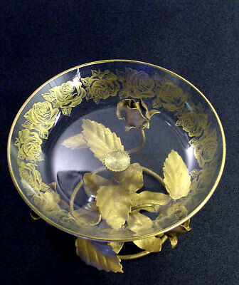 Italian Vintage Gold Gilt Tole Metal Pedestal Crystal Glass Rose Dish Italy