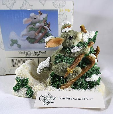Charming Tails Figurine Who Put That Tree There Christmas