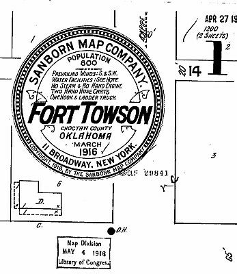 Fort Towson, Oklahoma~Sanborn Map© sheets~4 maps made in 1916 1927 on a CD