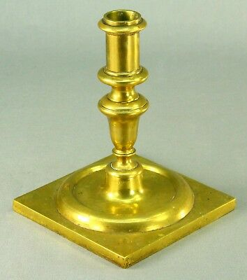 ! Antique 1600's Baroque Heavy Cast & Shaved Brass Column Candle Holder