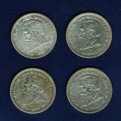 LITHUANIA 1936  5 LITAI  SILVER COINS, LOT OF (4), XF to  ALMOST UNCIRCULATED