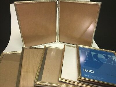 Vintage Lot of 6 Gold Brass Metal Picture Frames, Shabby Wedding 8x10  -1 Double