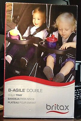 Britax B-Agile Black Waterproof Two Sided Snack Tray for most Double Strollers