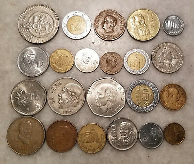 Vintage Mixed Lot Of (22) Mexico Type Coins - Lqqk !!! - Nice Collection - #1365