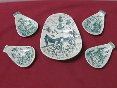 Nymolle Art Faience (Denmark)   Hoyrup, Fairy Tale Art Nut Dish Set (5 Pieces)