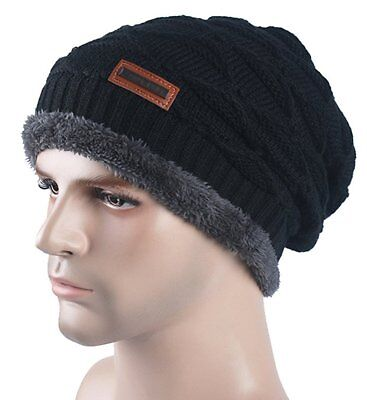 Spikerking Mens Knitting Cap Winter Hat Beanie Skull Hat With Thick Lining,Black