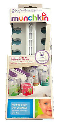 Munchkin Baby Food Pouch Organizers Holder Sliding Cabinet Shelf Rack 2 Pack NEW