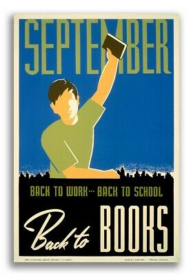 """A Year of Good Reading Ahead!/"""" 1930s Vintage Style WPA Poster /""""January 16x24"""