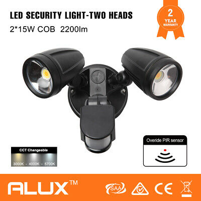 2000Lumens Led Black Twin Flood Light Outdoor Exterior Security Motion Sensor