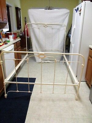 """Antique Child's 3/4 Iron Bed .. Sandblasted and Painted .. 70"""" x 51.5"""""""