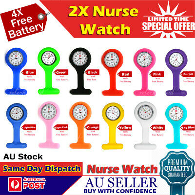 2X Silicone Medical Nurse Brooch Nursing Nurses Pendant Tunic Fob Watch +Battery
