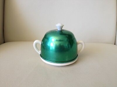 Vintage Retro Ceramic Sugar Bowl With Green Anodised Cover