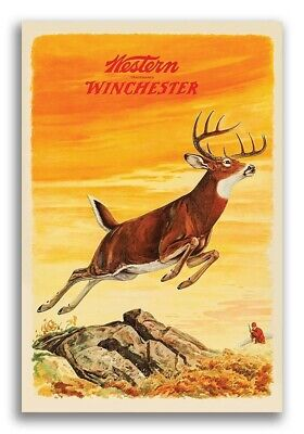 """1950s """"Western Winchester"""" Vintage Style Deer Hunting Poster - 16x24"""