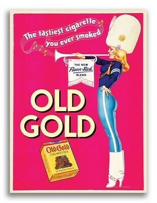 1939 Old Gold Cigarettes Advertising Poster - Petty Girl Trumpet Player - 18x24