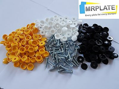 Number Plate Car Fixing Fitting Kit - Screws & Caps - 32 caps 32 screws Licence