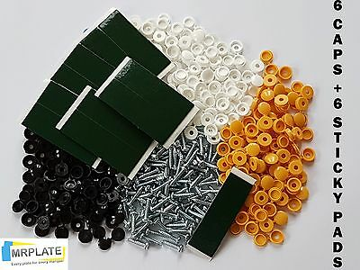 Number Plate Fitting Kit - Screws Caps + Sticky Pads - Yellow Black White Caps