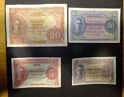 Malaya George VI Set of 4 Banknotes 20, 10, 5, & 1 Cents 1941