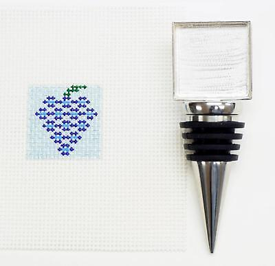 *NEW* WINE BOTTLE STOPPER #6 HP Needlepoint Canvas & Metal Stopper Point2Pointe