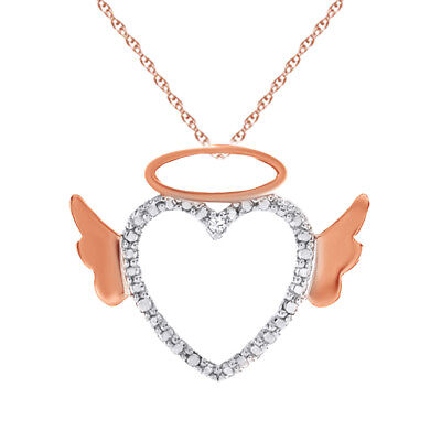 Real Diamond Heart Angel Pendant w/Chain 14k Two Tone Gold Over Sterling Silver