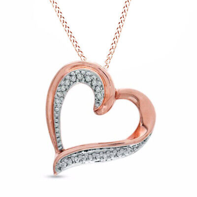 Natural Diamond Tilted Heart Pendant in Sterling Silver and 14K Rose Gold Plate
