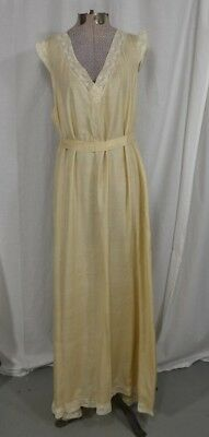 night gown dress silk 1920 off white lace med-lg flapper antique original