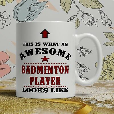 Awesome Badminton player birthday gift mug for him her funny novelty present cup
