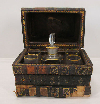 Antique French Leather Book Box Tantalus Decanter 4 Glass Set w/ Provenance  yqz