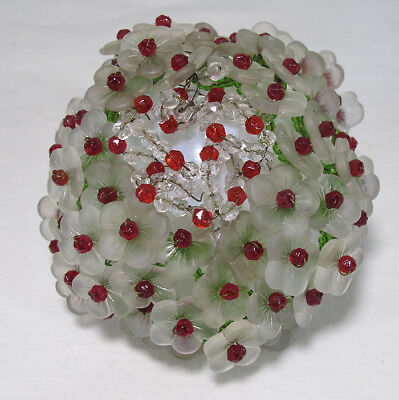 Antique Art Nouveau Czech Glass Beaded Flower Shade Figural Lamp Bulb Cover yqz