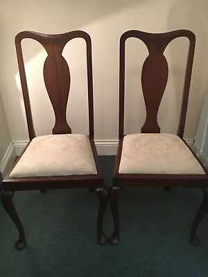 Antique Dining Chairs 2 Queen Anne style high backed chairs