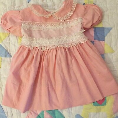 Vtg Pink Lace Dress Girl Retro Coral Lace Sheer Collar 6 9 12 Months Baby