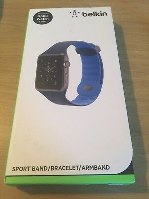 Belkin Sport Wristband Apple Watch Series 1 & 2 42mm Marine Blue NEW Band