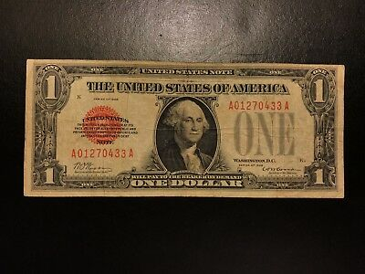 1928 $1 One Dollar Legal Tender Note Small Size Red Seal Very Fine