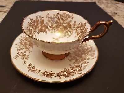 Vintage Coalport Cup & Saucer Solid Gilt Handle And Foot With Gilt Floral Patter
