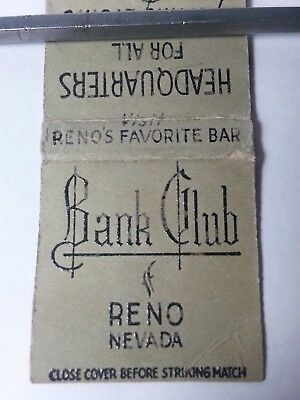 Vintage Matchbook Cover 1930's 1940's Bank Club Bar Reno Nevada Casino