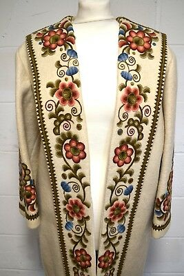 True Vintage 1950s Hand Embroidered Wool Felt Coat Flowers Couture
