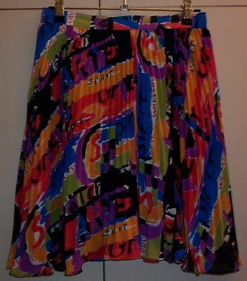 VINTAGE 1980s BRIGHT PRINT PLEATED SKIRT SMALL SIZE 40 EURO  EXCELLENT CONDITION