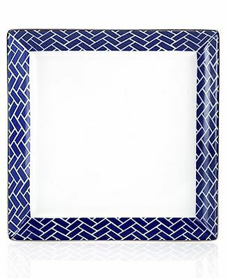 Charter Club Grand Buffet Trellis Indigo Square Salad Accent Plate Dish