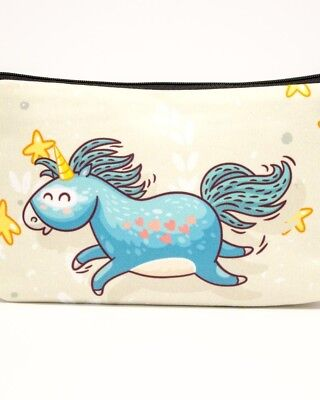 Happy Heart Unicorn Purse Pencil Makeup Case Toiletries Bag Cute Cool Sweet Gift