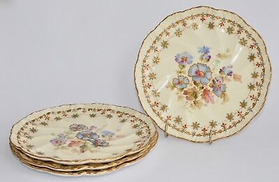 Set of 4 Antique (1891-1916) Pointons England Hand Painted PANSIES Plates (20cm)