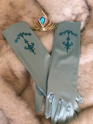 Adults Womans Costume Frozen Elsa Glitter Coronation Gloves + Gold Crown  comb