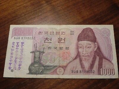 1983 The Bank of Korea (South Korea) 1000 Won Note with overprint