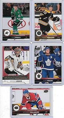 U PICK EM LOT 2017-18 17-18 Upper Deck Series 1 & 2 UD Exclusives /100 RC set