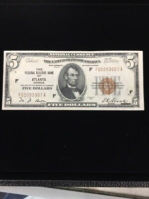 1929 $5 National Currency The Federal Reserve Bank Of Atlanta Georgia Nice AU